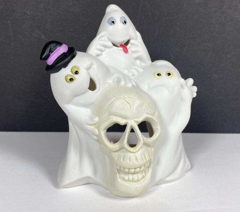 VTG Ceramic Figures Halloween Ghosts Skull Silly Funny Tea Light luminary