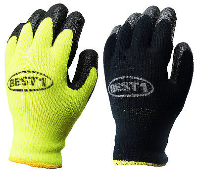Safety Winter Lining Knit Latex Dip Work Gloves Crinkle Finished -whvlmbk
