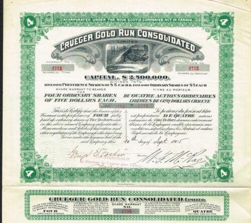 CANADA CRUEGER GOLD RUN CONSOLIDATED stock certificate/bond 1905