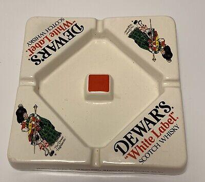 Vintage Dewar's White Label Scotch Whiskey Ceramic Ashtray MINT