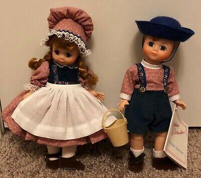 """Vintage & Retired Madame Alexander Jack & Jill 8"""" Dolls #455 & #456 Very Cute"""