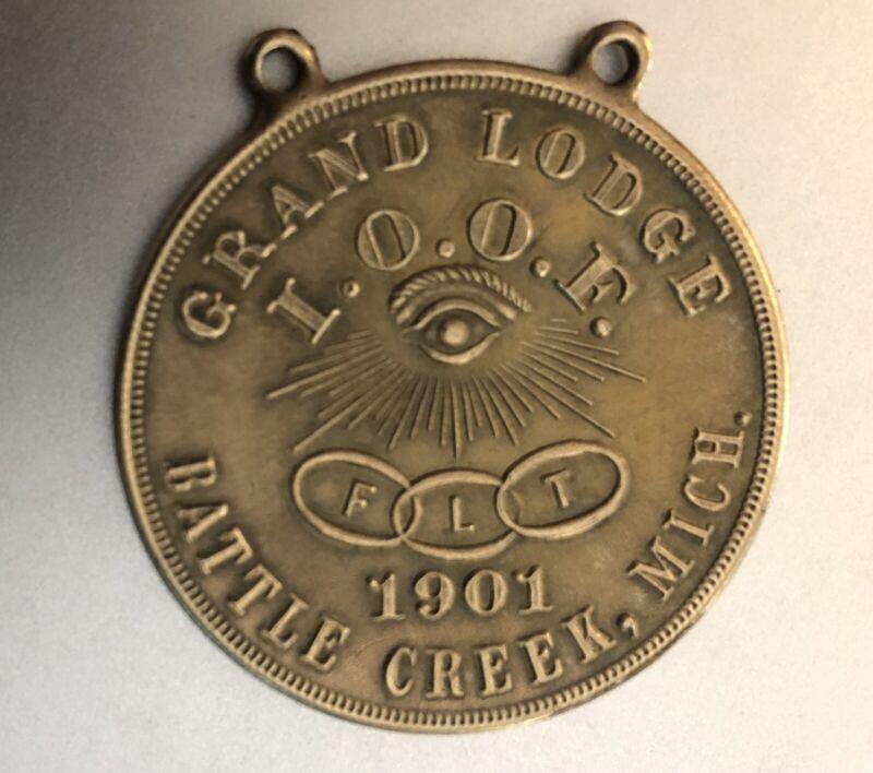 Antique 1901 Member Medal ODD FELLOWS Grand Lodge Battle Creek MI; Fraternal Org