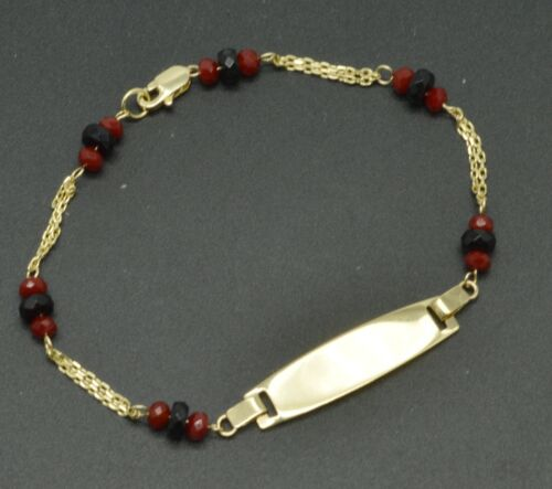 """14K Yellow Solid Gold 6"""" ID Ruby Onyx chain Bracelet For Kids"""
