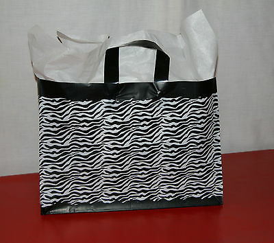 25 Zebra Print 16 X 6 X 12 Retail Shopping Gift Frosty Merchandise Bags Handles