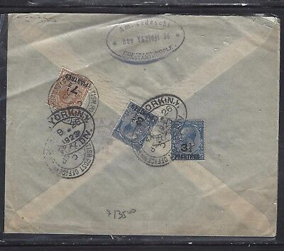 BRITISH LEVANT OFFICES IN TURKEY (P1410B) 1923 KGV ON GB 3 2/4PX2+7 1/2P REG TO