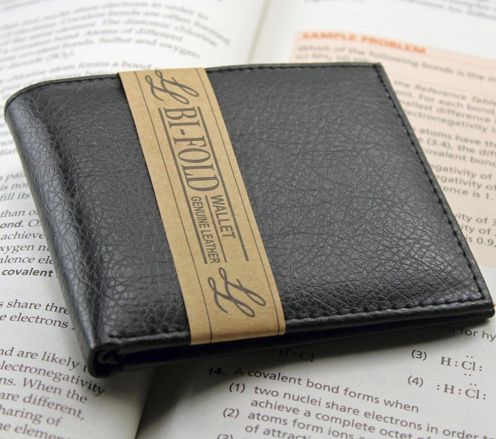 New Mens Bifold Genuine Leather Wallet Multi Credit Card ID License Slim Black
