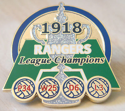RANGERS Rare Victory Pins 1918  LEAGUE CHAMPIONS Badge  Danbury Mint