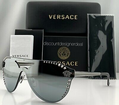 Glam Rock Sunglasses (Versace GLAM MEDUSA VE2161B Sunglasses Gray Frame Silver Mirror Lens)
