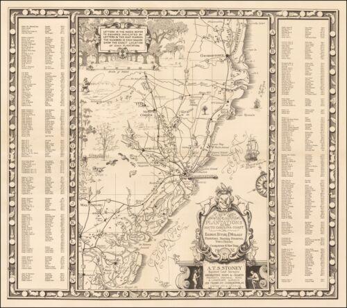 1932 Map Showing Principal Plantations South Carolina Coast  POSTER 52950