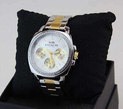 NEW AUTHENTIC COACH PERFECT BOYFRIEND CRYSTALS SILVER GOLD WOMENS 14503132 WATCH