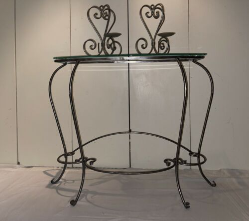 Vintage Neoclassical Wrought Iron Glass Top Console Table W/ Mirror Sconces - $548.00