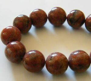 40pcs 10mm Round Natural Gemstone Beads - Poppy Jasper