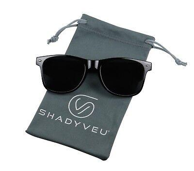 ShadyVEU- Designer Inspired 80's Retro Round Super Darkest Black Tint (Darkest Tint Sunglasses)