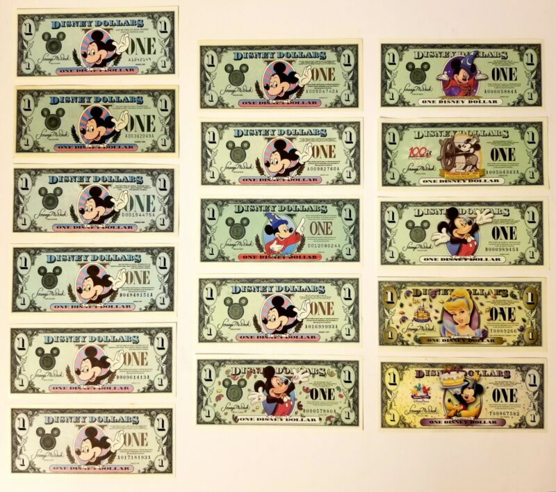 Disney Dollar Lot of 16 $1. Start your Disney Dollar Collection Great Condition
