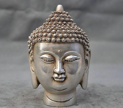 Tibetan Buddhism Tibet silver Shakyamuni Buddha Head Bust Statue Figurine