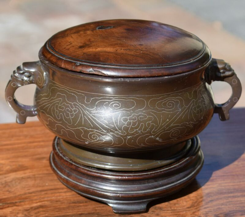 Chinese Bronze Silver inlaid Censer Incense Burner Shi Shou Mark Qing 18/19C