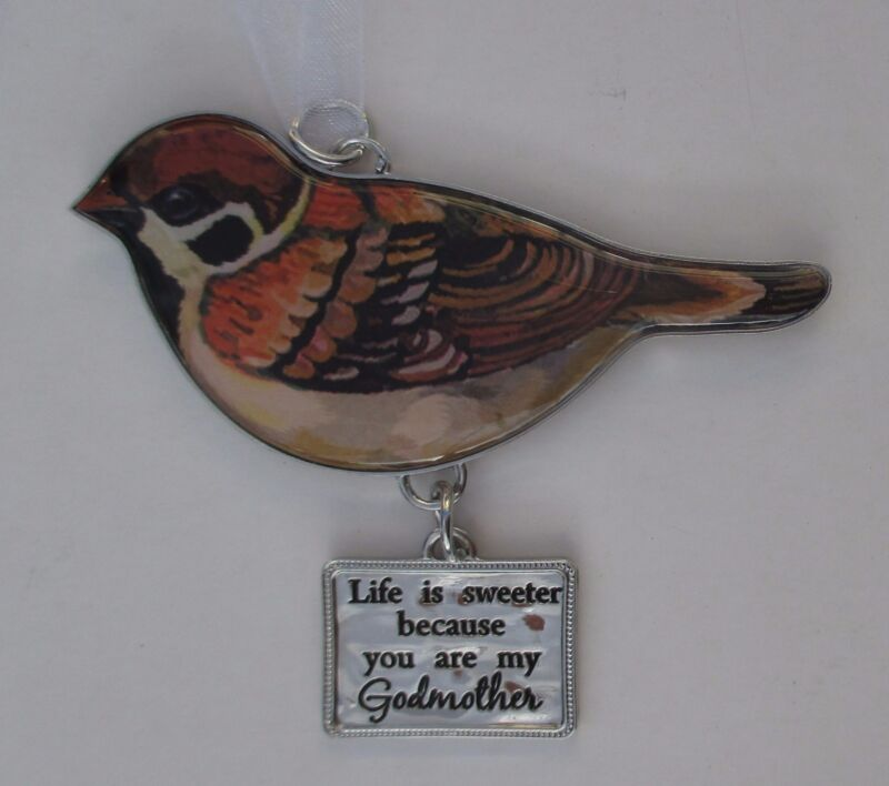 zzm Life is sweeter because u are my Godmother Beautiful Blessings BIRD ORNAMENT