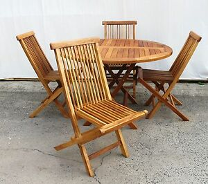 Teak Timber Outdoor Setting -Round table and 4 folding chairs