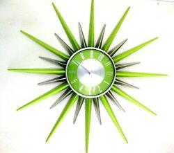 Verichron Atomic Starburst Wall Clock Mid-Century Modern Lime Green & Silver