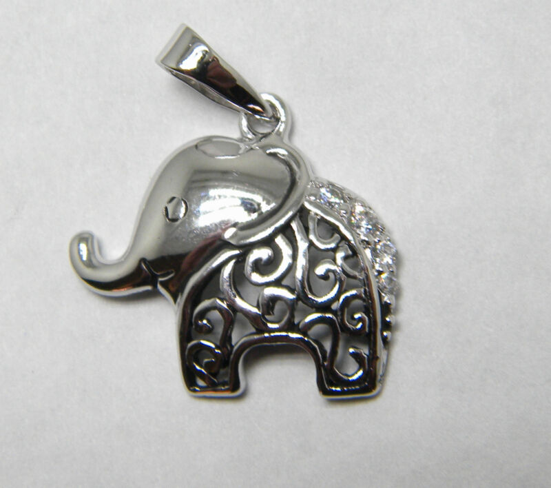 "Sterling silver Elephant charm / pendant 3/4"" by 7/8""  w/ CZ & Gift box & bag"
