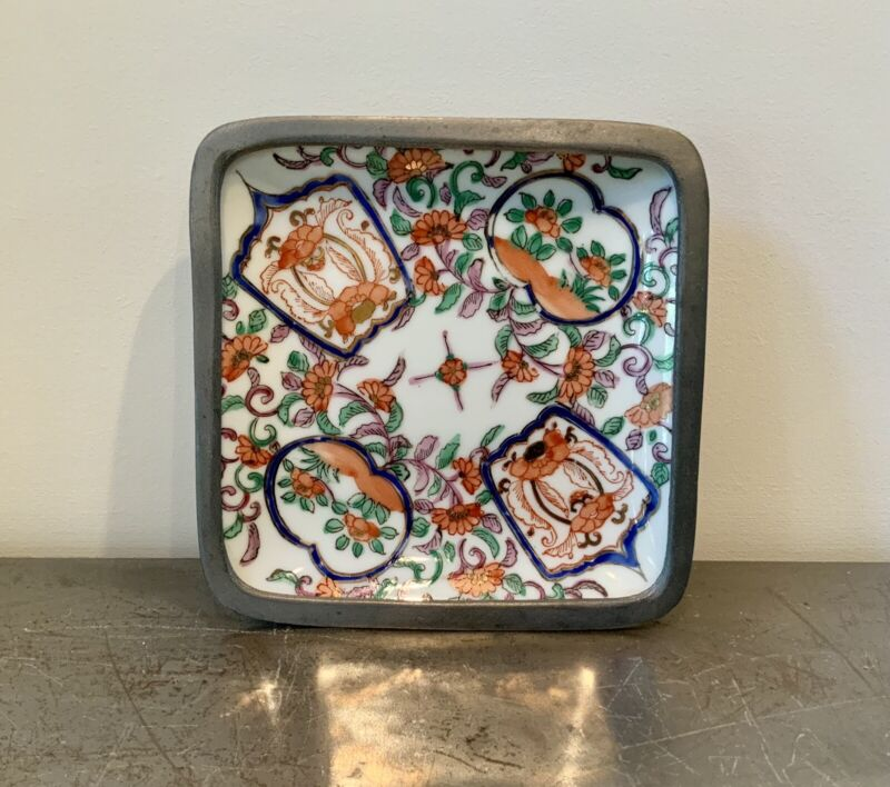 Japanese Porcelain Ware Square Pewter Plate Decorated In Hong Kong Vintage