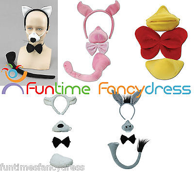 Animal Set with Sound Lamb Donkey Duck Cat Ears Nose Tail & Bow Tie Fancy Dress
