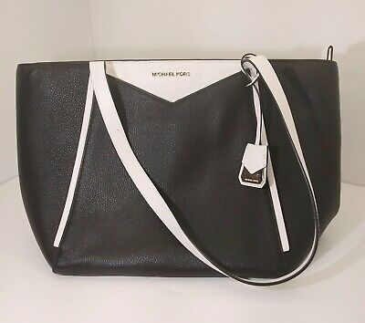 MICHAEL KORS Black and White Leather Gold Hardware Purse Tote Handbag