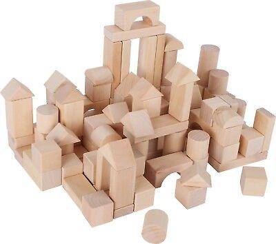 tel Natur Bausteine Bauklötze aus Holz 100 Steine für Kinder (Holz Bausteine Für Kinder)