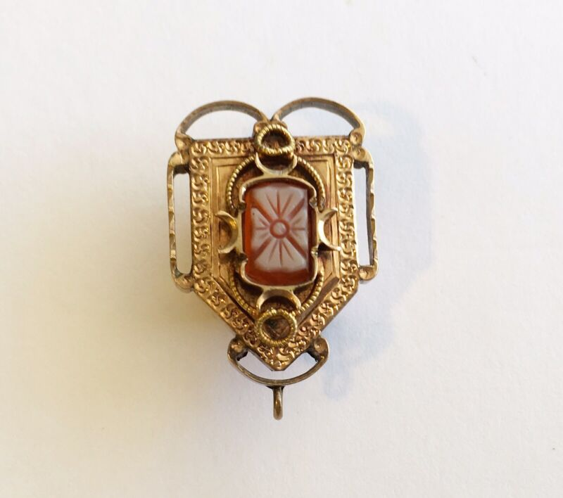 Antique Victorian 14k Watch Slide/Drop/Pendent With Carved Agate