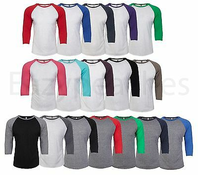 Next Level - UNISEX 3/4 Sleeve Raglan Baseball T-Shirt Tri Blend Plain Tee 6051