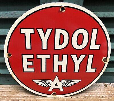 OLD VINTAGE FLYING A TYDOL ETHYL GASOLINE PORCELAIN ENAMEL GAS PUMP SIGN
