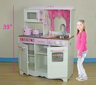 """Large 39"""" Inch Kids Toy Wooden Kitchen Toy Cooking Hot Sale Solid Wood Playset"""