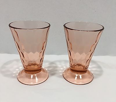 Vintage Jeanette Glass Pink Sherbert Cup Footed Honeycomb Set Of 2 C