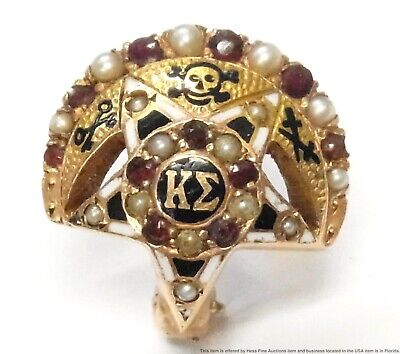 Vintage 14k Gold Pearl Ruby Enamel Kappa Sigma College Fraternity Pin