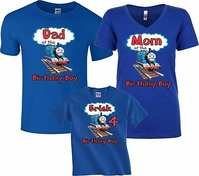 Thomas the Train Birthday Boy Family Funny Cute Customized matching T-Shirts
