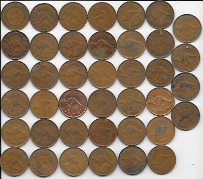 Gift Idea Flea Market Lot Roll 40 Mixed Date Bronze Australia Large Penny Coins - $21.50