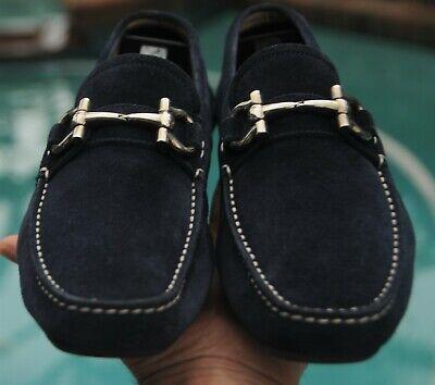Salvatore Ferragamo Mans dark blue suede horse bit Parigi Loafer shoes SIZE 7 D