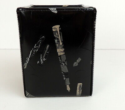 Fahrneys Pens Square Holder Patent Leather Desk Top Organizer Rare
