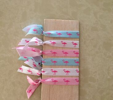 Elastic Hair Ribbons & Bows in Flamingo & Unicorn designs