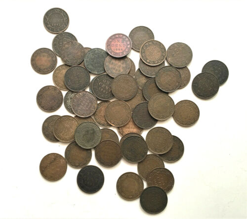LOT OF 57 CANADIAN LARGE CENTS 1881-1920
