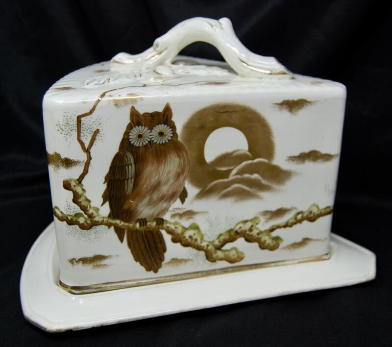 Antique Aesthetic Movement Owl Moon Cheese Keeper Dome Box Dish Victorian Bird