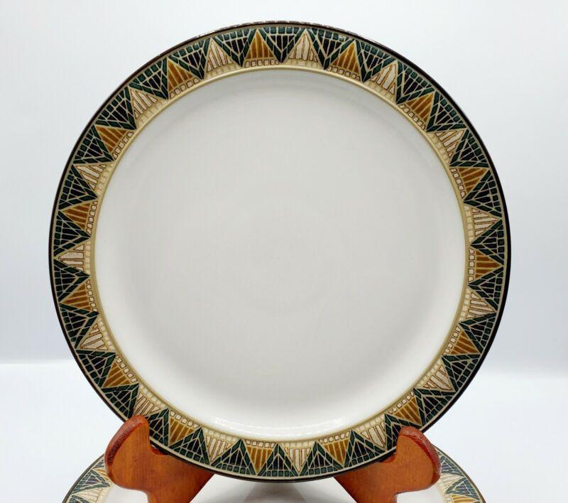 "Set of 6 Denby England BOSTON SPA 9"" Luncheon Plates  Green Blue Tan Tile Design"