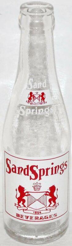Vintage soda pop bottle SAND SPRINGS BEVERAGES lion crest 1958 Williamstown Mass