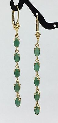 14k Solid Yellow Gold Long Dangle Lever-back Earrings, Natural Emerald 2.06Gr