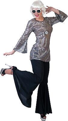 70's Fever Tunika Discokleid silber NEU - Damen Karneval Fasching Verkleidung Ko