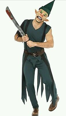 Freaky Scary Halloween Costumes (Mens Freaky Peter Pan + Mask Scary Halloween Zombie Fancy Dress Costume)