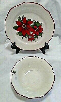 Better Homes & Gardens -Set of Poinsettia Soup/Cereal Bowl & Bread/Dessert Plate