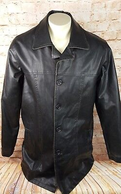 Arizona Jeans Long Faux Leather Trench/Car Coat Men Size Large Tall Black - Faux Leather Car Coat
