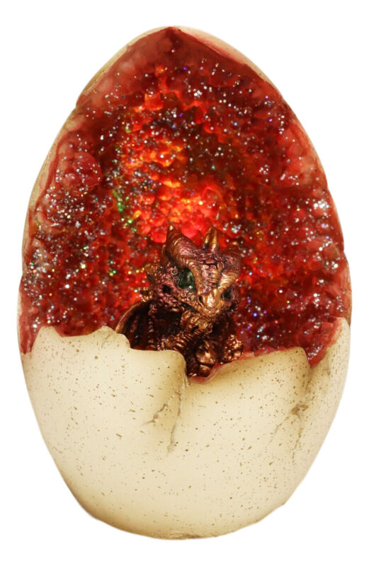 Red Wyrmling Dragon In Crystal Quartz Geode Egg Figurine With Colorful LED Light