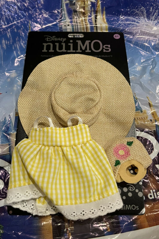 Disney nuiMOs Yellow Gingham Dress With Straw Hat And Straw Bag Set New In Hand